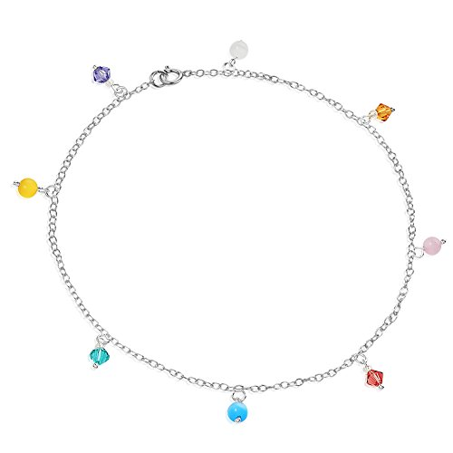Multi Colored Glass Beaded Bracelet (925 Sterling Silver Multi Colored Crystal Glass Beaded Foot and Ankle Anklet Bracelet, 9.5 inches)