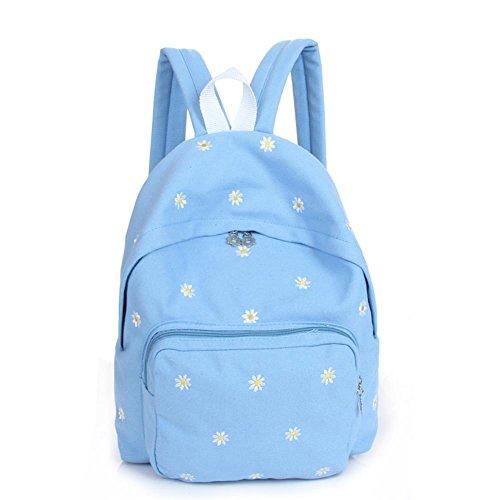 Women Korean Style Canvas Flower Floral Printing Backpack Bags College Students School Rucksacks Bookbags Laptop Shoulders for Teen Girls (Blue)