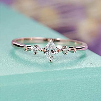 JEWH Marquise Cut Engagement Ring for Women - Three Stone Cluster Bridal Rings - Wedding Jewelry