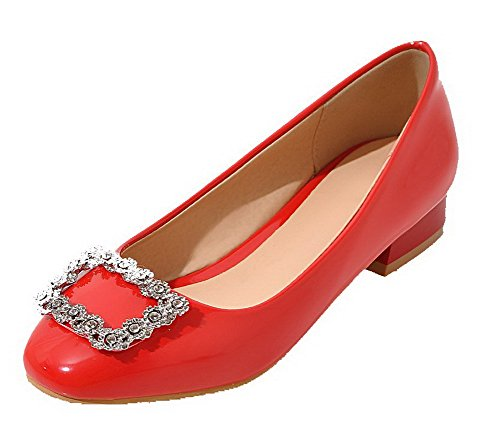 Tirare Donna Basso Maiale Rosso Punta VogueZone009 Flats Tacco Ballet Chiusa n1xwYtZp