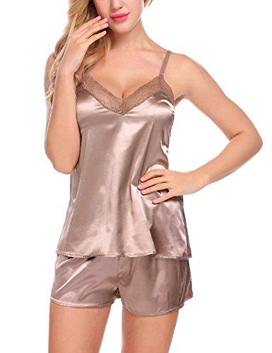 Venukiss Women Satin Pajamas Set Sleeveless Sleepwear Soft Loungewear Pj Shorts