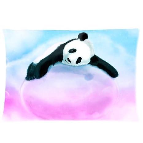 Amazon.com: Lindo oso panda en rosa Marshmallow Arte Funda ...