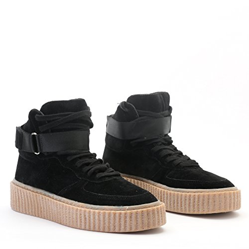 3 Up Suede in and Faux Sole Hi Black Top Gum UK Creepers 8 Lace Womens Design qw6Y5v1nz