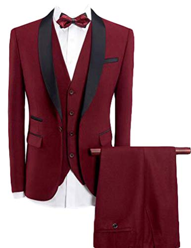 (Botong Red Shawl Lapel Men Suits 3 Pieces Wedding Suits for Men Groom Tuxedos Red 38 Chest / 32 Waist)