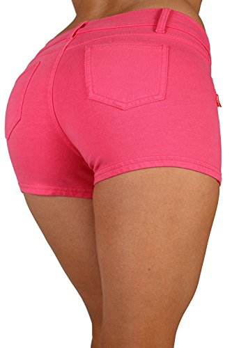 Basic Short Shorts Premium Stretch French Terry Moleton With a gentle butt lifting stitching in Fuschia Size XXL
