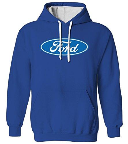 Ford Motor Company Logo - American Muscle Car 2 Tone Hoodie Sweatshirt (Royal, 2X-Large)
