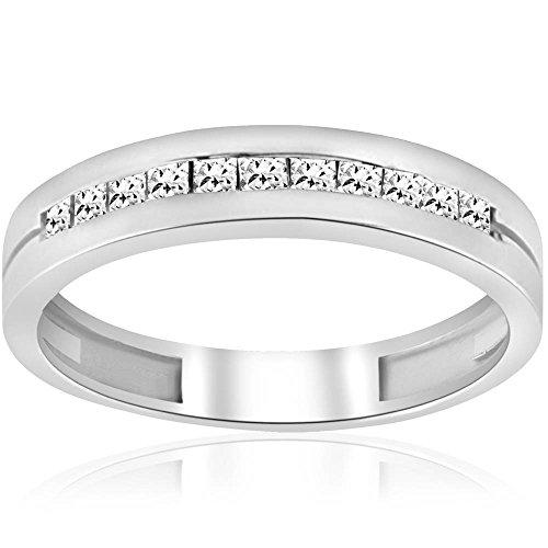 3/8ct Mens Princess Cut Diamond Polished Wedding Ring 14K White Gold - Size 9 ()