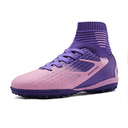 DREAM PAIRS Girls Purple Pink Turf Outdoor/Indoor Soccer Football Cleats Shoes Size 3 M US Little Kid HZ19001K