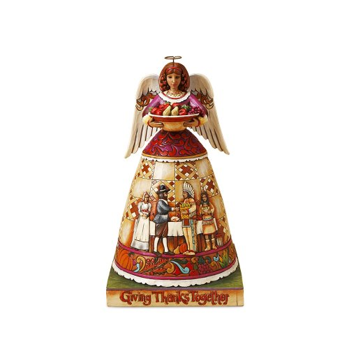 Enesco Jim Shore Heartwood Creek Harvest Angel Holding Basket of Fruit with Thanksgiving Scene Figurine 10-Inch