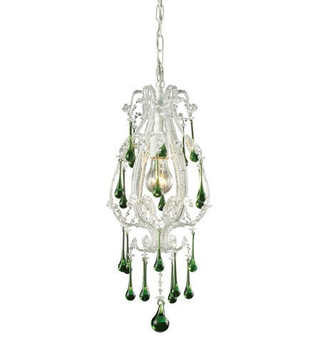 Antique White Lime Crystal - Pendants 1 Light with Antique White Finish Lime Crystal Medium Base 8 inch 100 Watts - World of Lamp