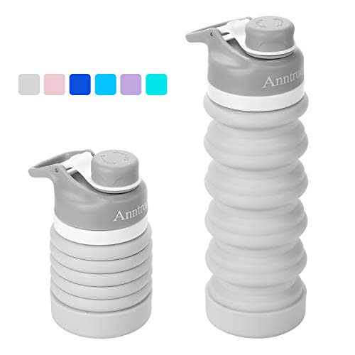 Anntrue Collapsible Travel Water Bottle 18oz, BPA Free, FDA Approved Food-Grade Silicone/Leak Proof/Portable Camping Water Bottle(Light Gray)