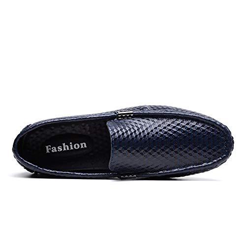 Nero EU 46 gomma fashion guida Isbxn suola uomo tinta Mocassino Color piatte da suola Dimensione unita resistente in mocassini Blu per all'usura slip scarpe business scarpe mocassini wqwABC4