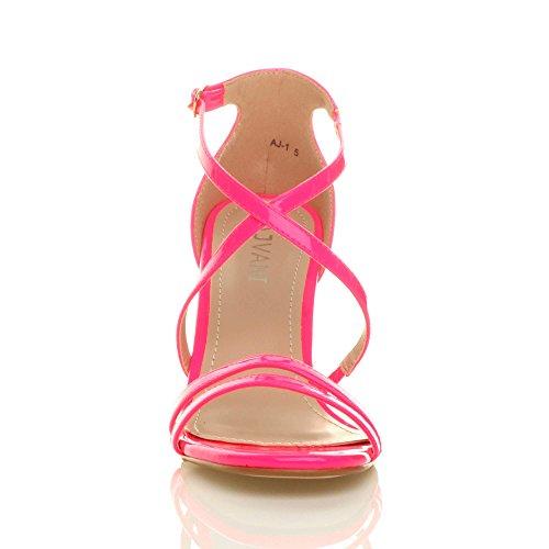 Fushia Chaussures Mariage Talon Moyen Femmes Rose Sandales Croisé Lanières Bal Néon Taille Haut ZvRqqw8