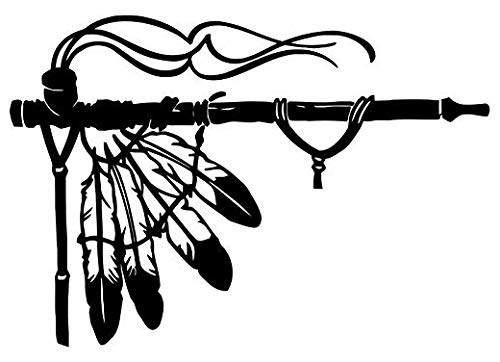 Native American Indian Peace Pipe - Sticker Graphic - Auto, Wall, Laptop, Cell, Truck Sticker for Windows, Cars, Trucks