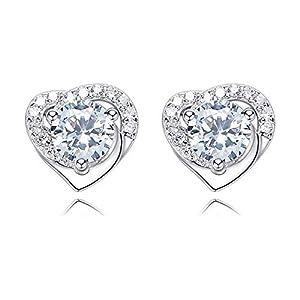 L&S, Heart Shape Stud, Steriling Silver for Women, Girls