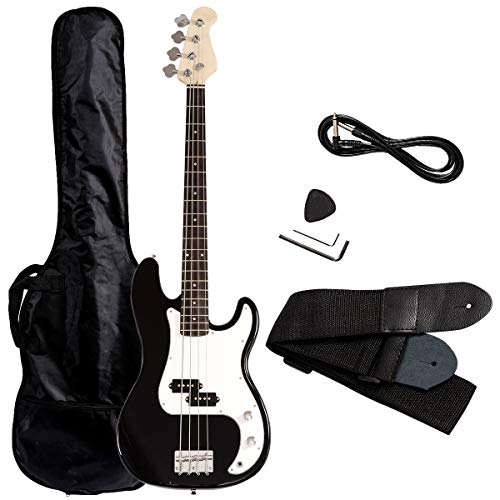 Costzon Full Size Electric 4 String Guitar for Beginner Starter Complete Kit, Rose Fingerboard and Bridge, w/Two Pickups & Two Tone Control, Guitar Bag, Strap, Guitar Pick, Amp Cord (Black Bass)