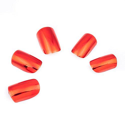 [KeeNail Nail Art Pre-design Acrylic Fake Nails Short Metallic Red 24 Piece Set] (Red Fake Nails)