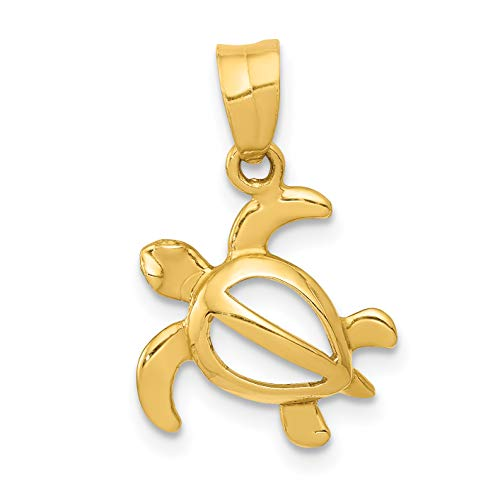 14k Yellow Gold Open Body Turtle Pendant 19x13mm