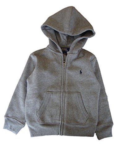 Polo Ralph Lauren Little Boys' Solid Hooded Zippered Sweatshirt Jacket, Grey Heather, 3T