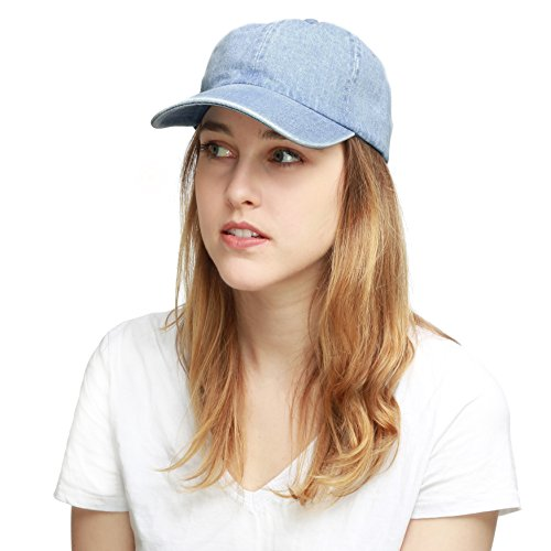 (THE HAT DEPOT 300N Washed Cotton Low Profile Denim Baseball Cap (Denim Blue), One Size )