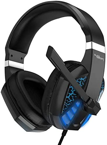 Gaming Headset for Xbox one,PC,PS4,PS5,Laptop,Mac,iPad,Switch Games, Video Game Headset with Microphone LED Lights Noise Canceling Bass Surround Soft Memory Earmuffs for Game Competition-Blue