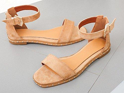 Zipper flache Ferse Sommer Sandalen mattes Wort wilde Damen Sandalen Schnalle Dark Brown