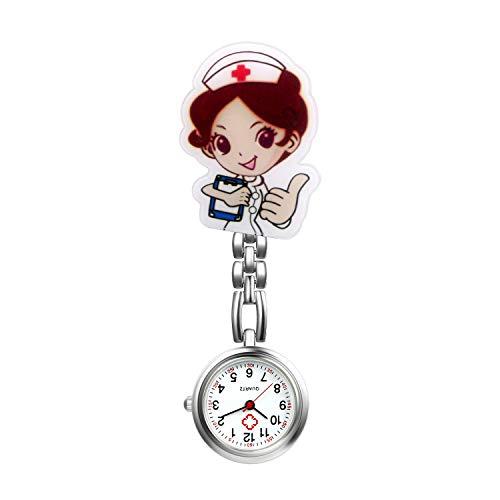 Nurse Watch for Women Girls Cute Cartoon Clip-on Lapel Hanging Pendant Doctor Tunic Stethoscope Quartz Fob - Lapel Chain Watch