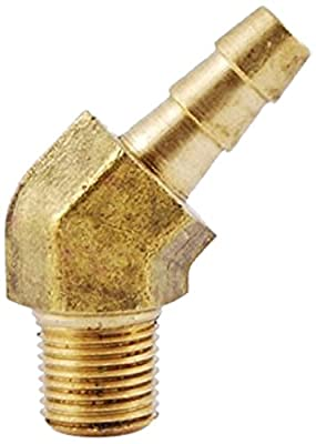 "MettleAir ID 1/8""NPT Male Barbed Hose/Tubing Fitting 45 degree Elbow Connector, Brass"