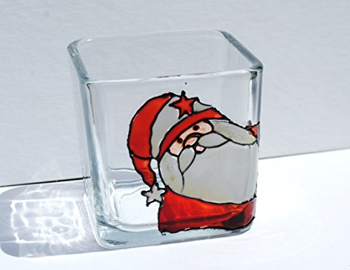 Stained Glass Christmas Candles - Santa Claus Hand Painted Stained Glass Square Candle Holder, Christmas Holiday Decor