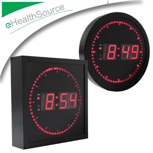 "eHealthSource Big Digital LED Wall Clock with Circling LED second indicator - Round Shape / 10"" Red LED"