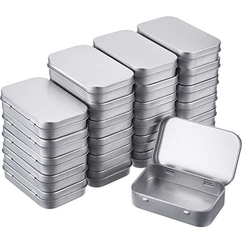 - Blulu 24 Packs Rectangular Hinged Tin Box Storage Containers with Lids, Small Portable Tin Boxes, Great for Crafts, Gifts, Candles, Soap, and Other Uses, 3.75 x 2.45 x 0.8 Inch, Silver