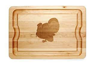 J.K. Adams Maple Wood Barbeque Cutting Board with Laser Engraved Turkey Design, 20-inches by 14-inches