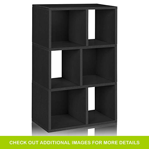 Way Basics Eco 3 Shelf Laguna Bookcase and Cubby Storage, Black (made from sustainable non-toxic zBoard paperboard)