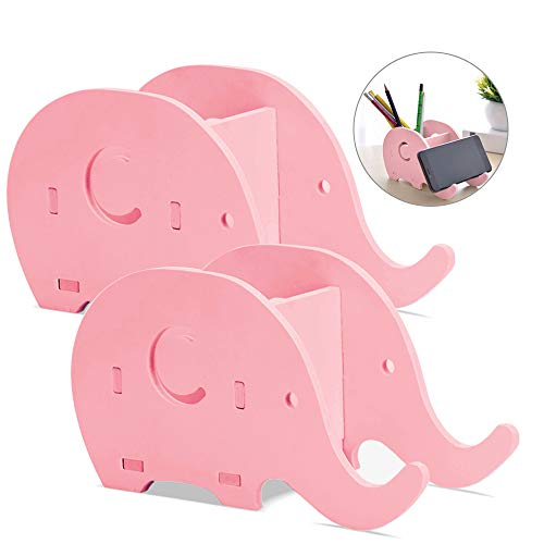2 Pieces Elephant Shape Desk Pencil Pen Holder, FineGood Wood Plastic Board Stationery Multifunctional Organizer with Cell Phone Stand for Office Adults Kids - Pink