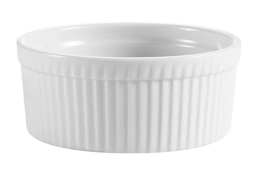 CAC China RKF-8 Porcelain Round 8-Oz Fluted Ramekin 4'' Diameter x 1-1/2'' High, Super White - 1 Each