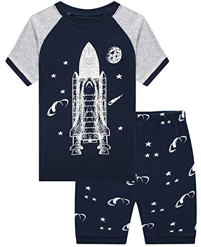 Boys Pajamas 100% Cotton Plane Glow in The Dark Summer Short Set Toddler Clothes Kids Pjs Sleepwear Size 5 -