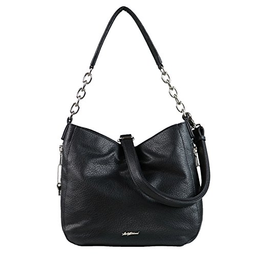 Concealed Carry Purse - YKK Locking Ashley Chain Concealed Carry Gun Hobo by Lady Conceal (Black)