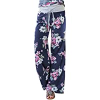 AMiERY Women's Comfy Pajama Pants Casual Floral Lounge Pants Women Wide Leg Palazzo Pant