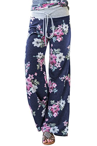 AMiERY Women's Floral Casual Comfy High Waisted Pajamas Pants Wide Leg Palazzo Pants Lounge Joggers Pants Blue L (Blue Floral Pajamas)