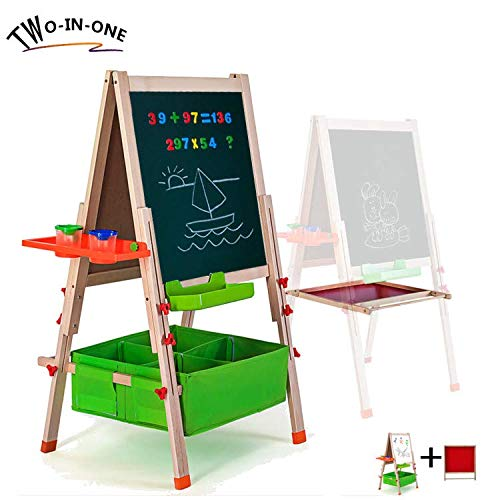 Gimilife Deluxe Easel for Kids, Folding Wooden Art Easel with Chalkboard, Whiteboard, and Storage Bins or Tray, Standing Easel with Magnetic Letters for Early Education (Wood, Fit for 2-14 Years -