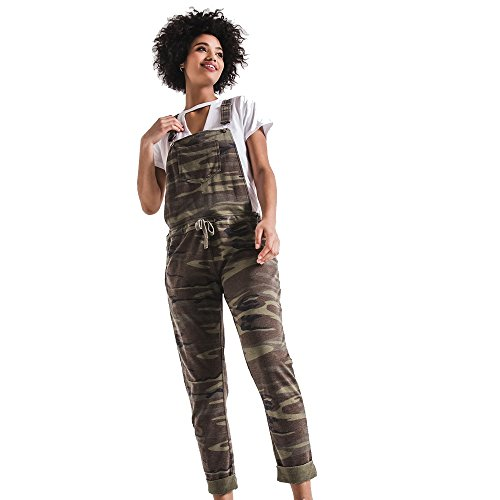 (Z SUPPLY The Camo Overalls Burnout Fabric, Camo Green,)