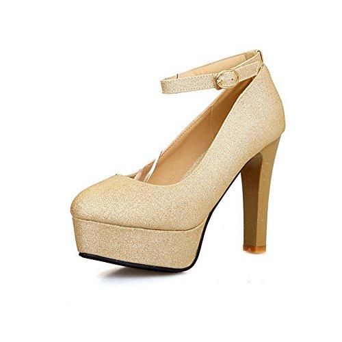 High balamasa cuir Heels shoes Doré imitation Mesdames paillettes pumps wSSqEF