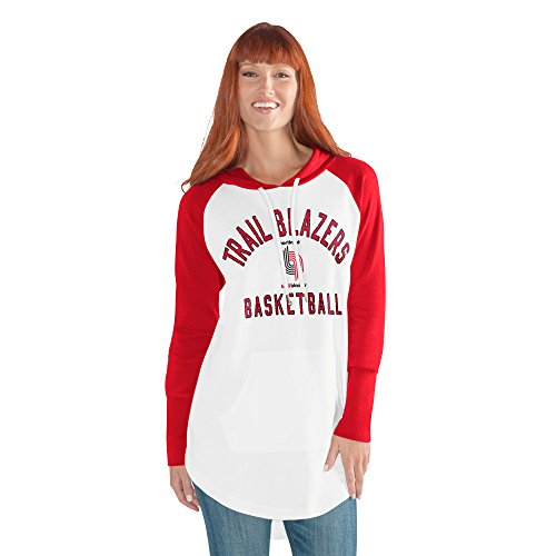 GIII For Her NBA Portland Trail Blazers Women's All Division Hoody, Large, White/Red
