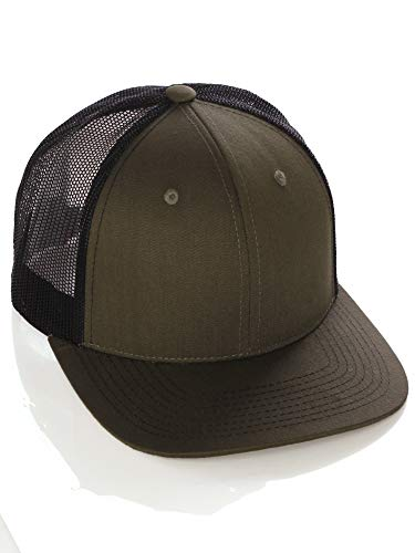 Vintage Retro Style Plain Two Tone Trucker Hat Adjustable Snapback Baseball Cap - Olive Black