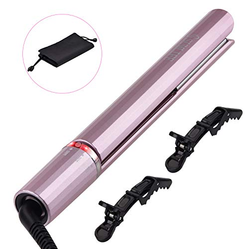 Hair Straightener and Curler for Hair Tourmaline Ceramic Infrared Dual Voltage Flat Iron with Rotating Adjustable Temperature 250℉-450℉ Purple ()