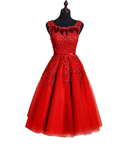 Women's Dress Sheer Duraplast Sparkle Homecoming Red Tulle With Beading PRqRT