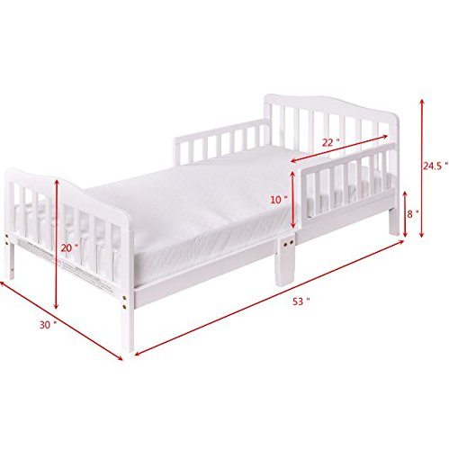 White Wood Children Toddler Baby Bed Kids Bedroom Furniture with Safety Rails + eBook by eXXtra Store