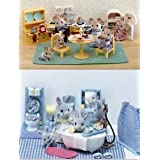 Calico Critters Kozy Kitchen Master Bathroom 2 Sets Doll doll figure (parallel import)
