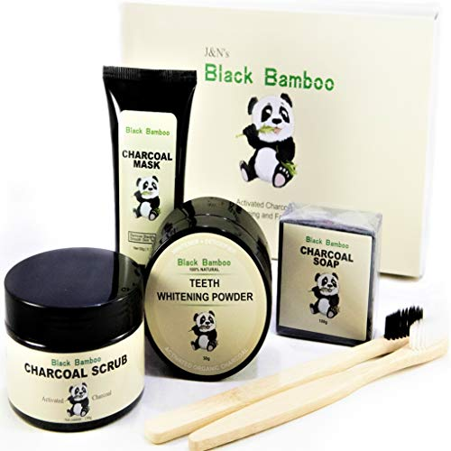 Black Bamboo 5 in 1 Activated Charcoal Teeth Whitening and Facial/Skin Care Kit: Charcoal Teeth Whitening Powder, Bamboo Toothbrushes, Charcoal Soap, Charcoal Face Scrub, T-Zone Peel off Charcoal Mask