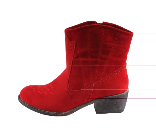 Chunky Size 6 Round RED Heels Western Style Ankle Bootie on CALICO Toe BONNIBEL 2 5 Color Womens vnwZ6